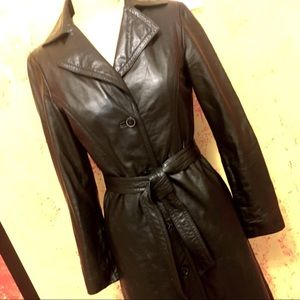 Jackets & Blazers - Black leather trench coat